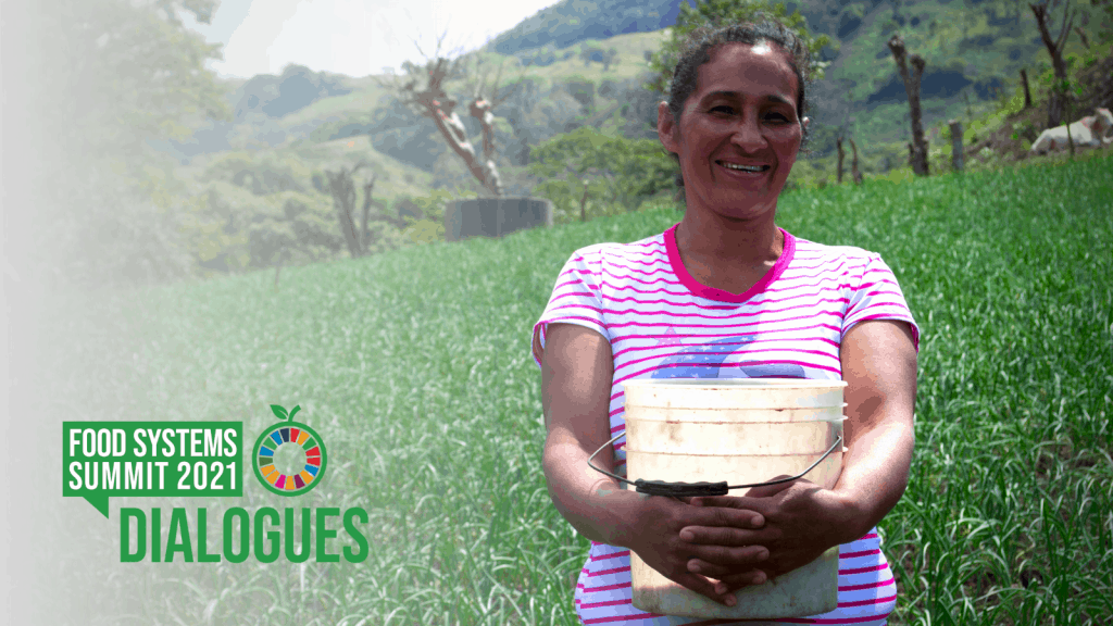 Woman in Nicaragua holding a bucket in a field. Text overlay: UN Food Systems Summit Dialogues