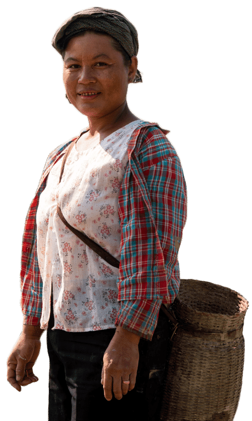 Woman with farming basket