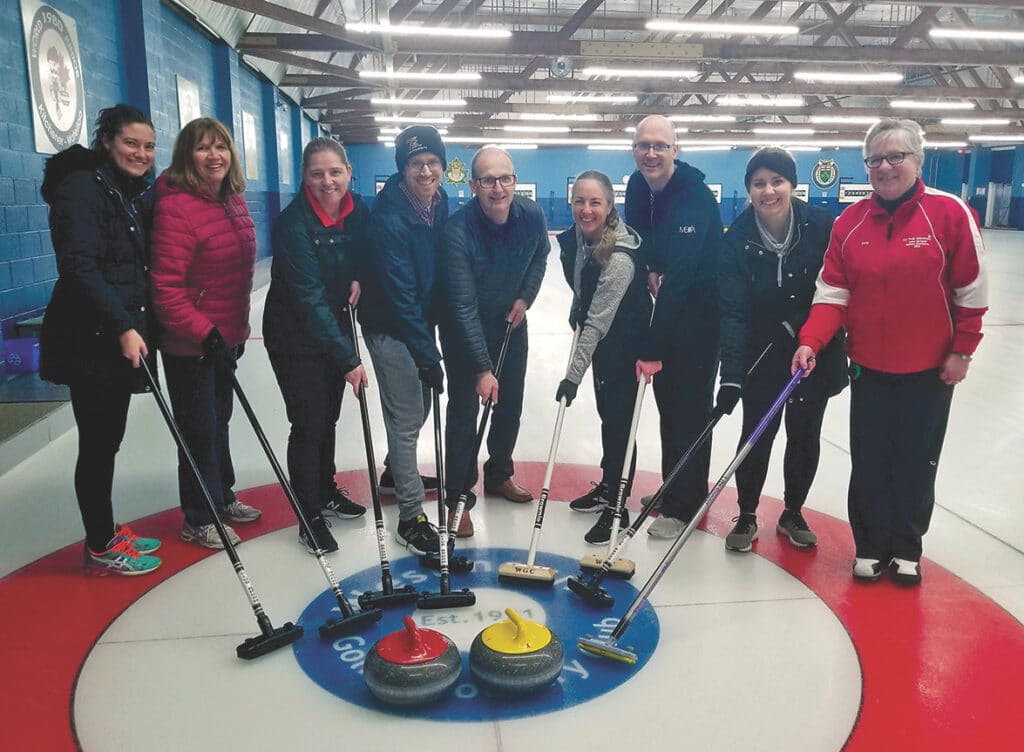 Orvie Bowman and finance team curling
