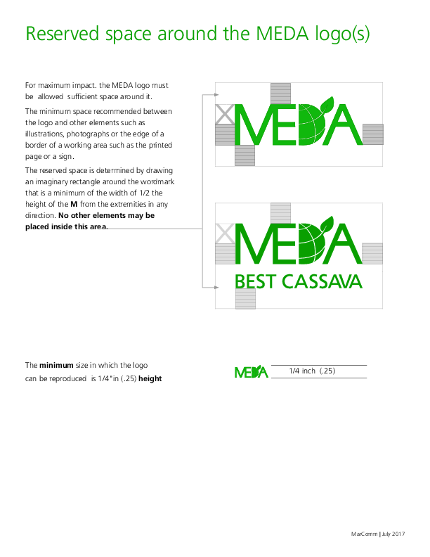 Reserved space around the MEDA Logo(s)