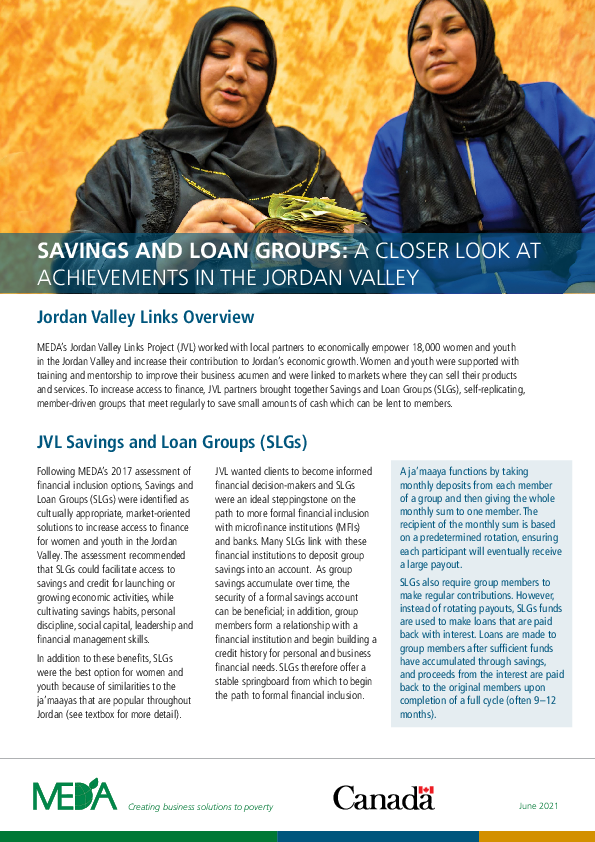 Savings and Loan Groups: A Closer Look at Achievements in the Jordan Valley