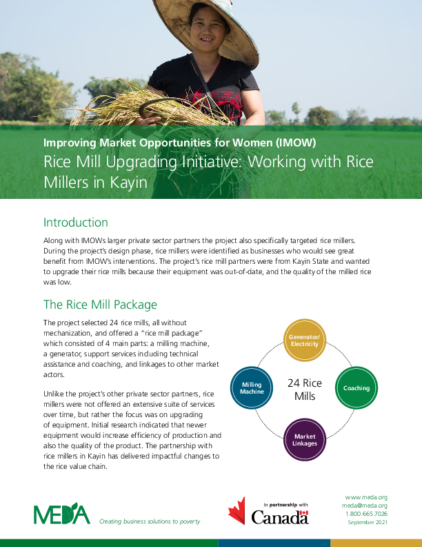Rice Mill Upgrading Initiative: Working with Rice Millers in Kayin