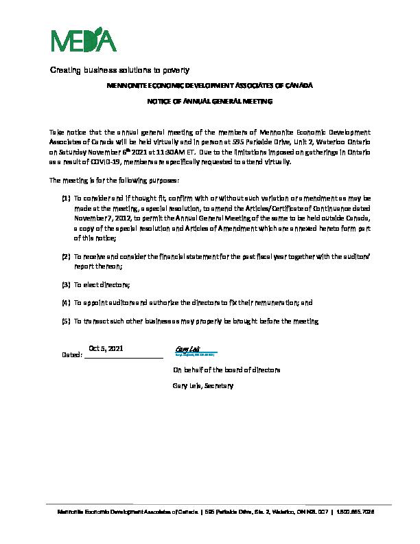 MEDA Canada Notice of Meeting 2021 AGM