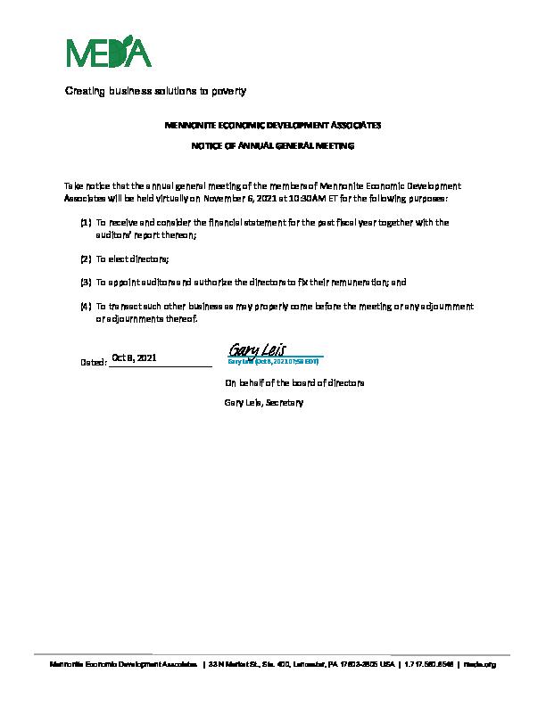 MEDA US Notice of Meeting 2021 AGM