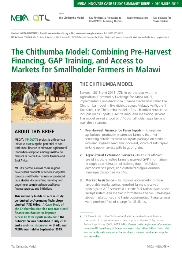 The Chithumba Model: Combining Pre-Harvest Financing, GAP Training, and Access to Markets for Smallholder Farmers in Malawi - Summary Breif