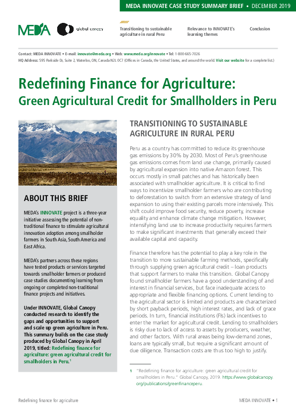 Redefining Finance for Agriculture: Green Agricultural Credit for Smallholders in Peru - Summary Brief
