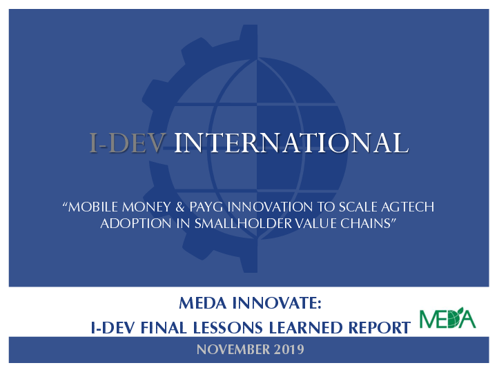 Mobile Money and PAYG Innovation to Scale AgTech Adoption in Smallholder Value Chains