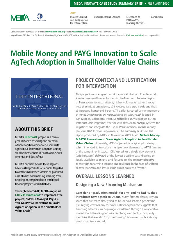 Mobile Money and PAYG Innovation to Scale AgTech Adoption in Smallholder Value Chains - Summary Brief