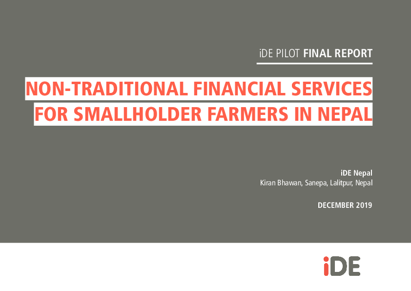 Non-Traditional Financial Services for Smallholder Farmers in Nepal