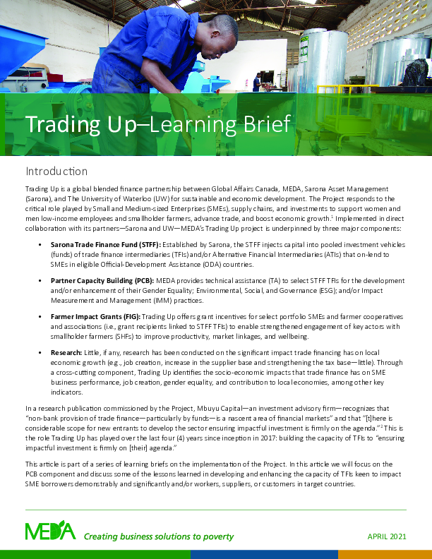 Trading Up - Learning Brief