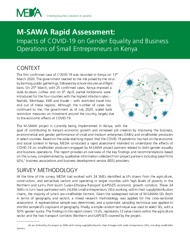 M-SAWA Rapid Assessment: Impacts of COVID-19 on Gender Equality and Business Operations of Small Entrepreneurs in Kenya