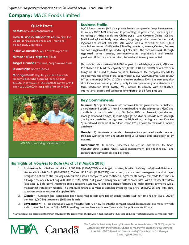 Lead Firm Profile - Mace Foods