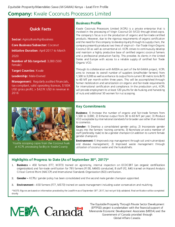 Lead Firm Profile - Kwale Coconuts