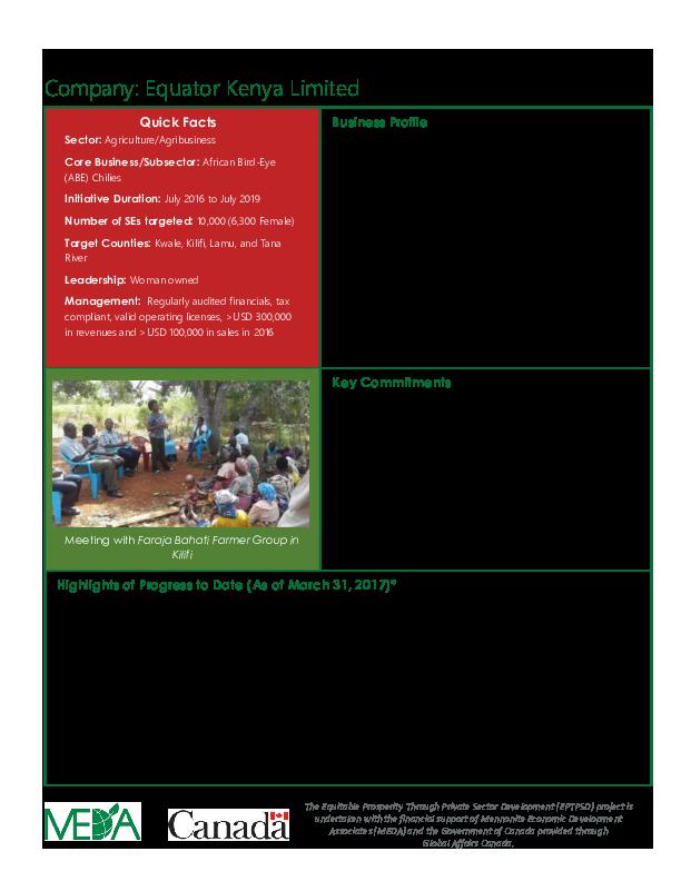 Lead Firm Profile - Equator Kenya  Ltd.