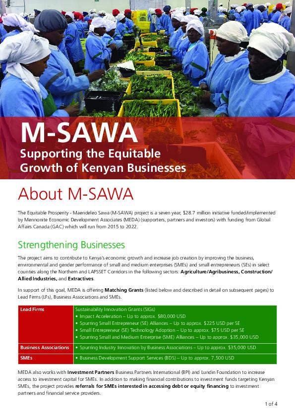 Kenya M-SAWA Project Profile
